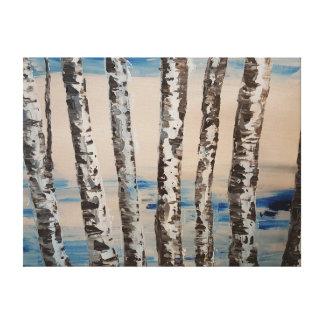 Blue Birch Tree Artwork Canvas Print
