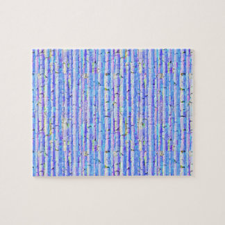 Blue Birch Trees Abstract Forest Jigsaw Puzzle