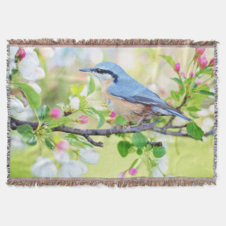 Blue Bird and Apple Blossoms Throw Blanket
