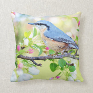 Blue  Bird and Apple Blossoms Throw Pillow