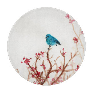 Blue Bird and Berries Glass circle Cutting Board