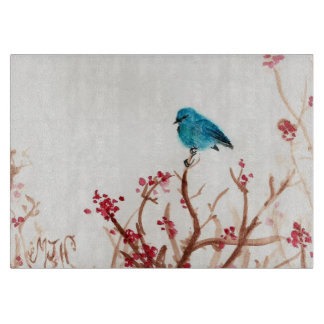 Blue Bird and Berries Glass Cutting Board 11.5 x 8