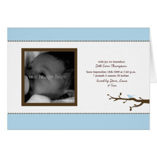 Blue Bird Baby Announcement Card
