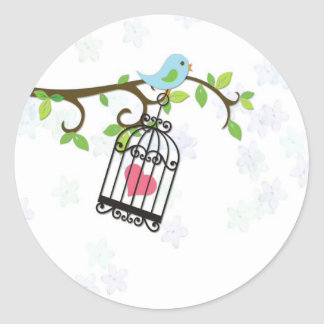 Blue Bird, Bird Cage Round Sticker