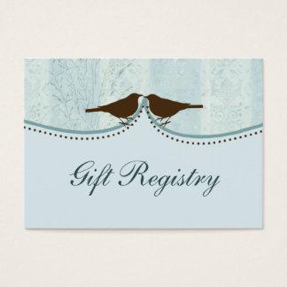 blue bird cage, love birds Gift registry  Cards