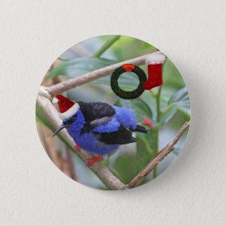 Blue Bird Christmas 2 Inch Round Button