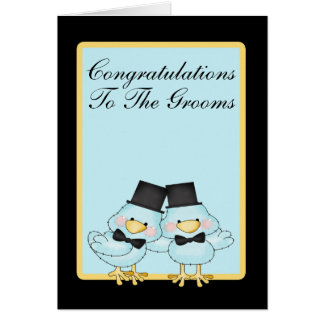 Blue Bird Grooms Wedding Card