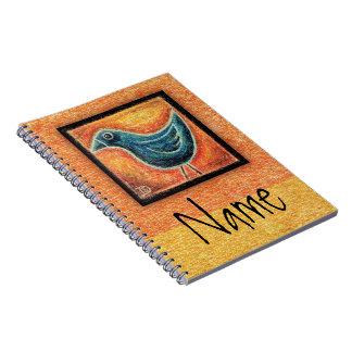 Blue Bird in Oil Pastel Spiral Notebooks