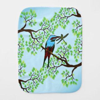 Blue Bird in Trees Burp Cloth