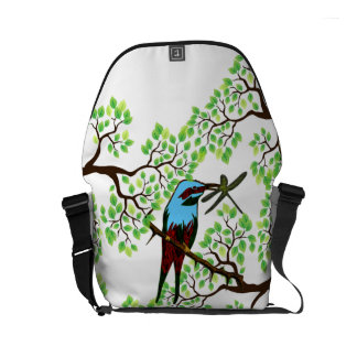 Blue Bird in Trees Courier Bag