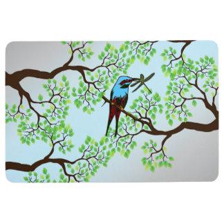 Blue Bird in Trees Floor Mat