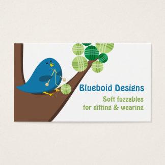 Blue bird knitting needles balls of yarn tree business card