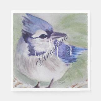 BLUE BIRD OF HAPPINESS MONOGRAM PARTY PAPER NAPKIN