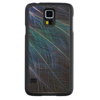 Blue Bird Of Paradise Feather Abstract Carved Maple Galaxy S5 Case