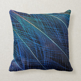 Blue Bird Of Paradise Feather Abstract Throw Pillow