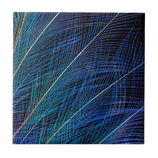 Blue Bird Of Paradise Feather Abstract Tile