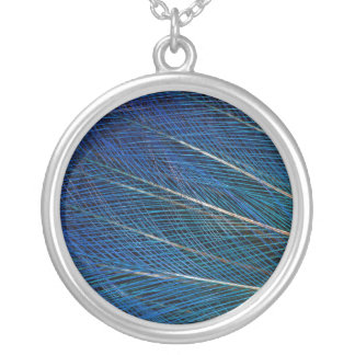 Blue Bird of Paradise feathers Silver Plated Necklace