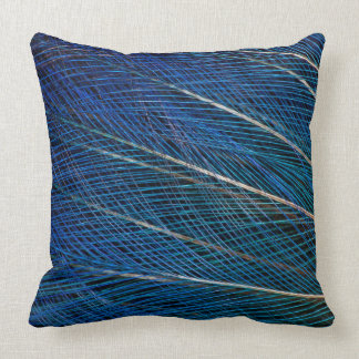 Blue Bird of Paradise feathers Throw Pillow