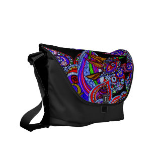 Blue Bird Of Paradise On Black Messenger Bag