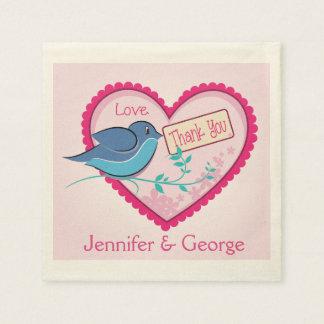 Blue Bird Pink Thank You Floral Heart Napkins Paper Napkins