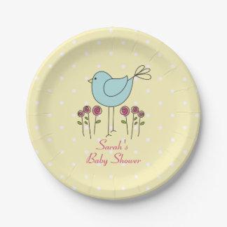 Blue Bird Spring Baby Shower Paper Plates