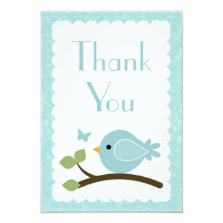 Blue Bird Thank you note cards baby shower
