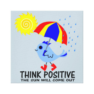 Blue Bird - Think Positive Message Canvas Print