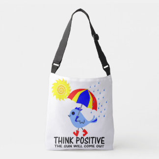 Blue Bird - Think Positive Message Crossbody Bag