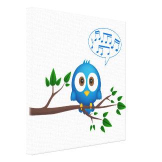Blue bird tweeting canvas canvas print