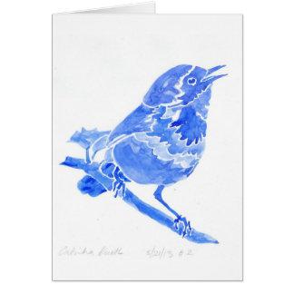 Blue bird warbler songbird watercolor card