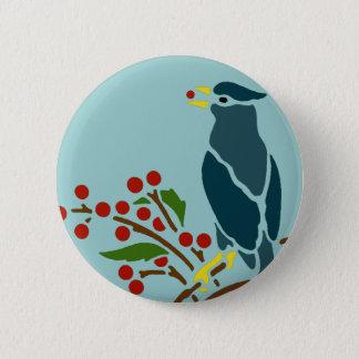 Blue Bird with Berries 2 Inch Round Button