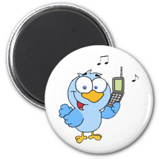 Blue Bird With Cell Phone And Speech Bubble Magnet