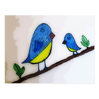 Blue Bird With Mother Postcard