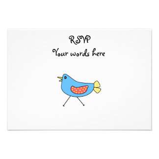 Blue bird with polka dots personalized invitation