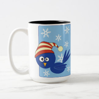 Blue bird with snowflakes Two-Tone coffee mug