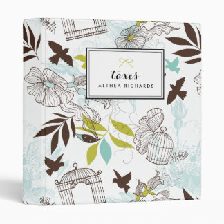 Blue Birdcages Floral Pattern Personalized Binder