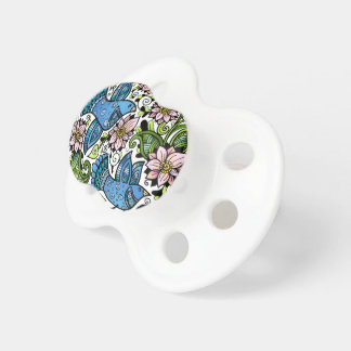 Blue Birds And Flowers _ MIKART_Nursery_ Pacifier