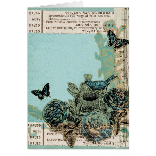 Blue Birds and Roses Vintage Look, Get Well Soon Card