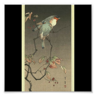 Blue Birds at Night by Seitei Watanabe 1851- 1918 Poster