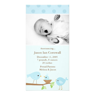 Blue Birds Birth Announcement Photo Greeting Card