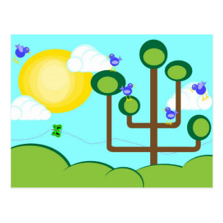 Blue birds, green tree and sunshine postcard