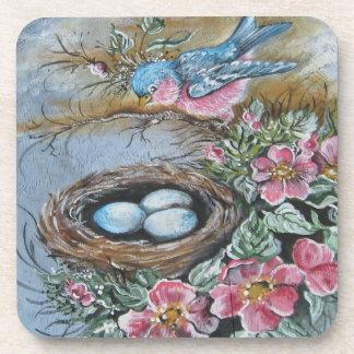 Blue Bird's Nest Drink Coaster