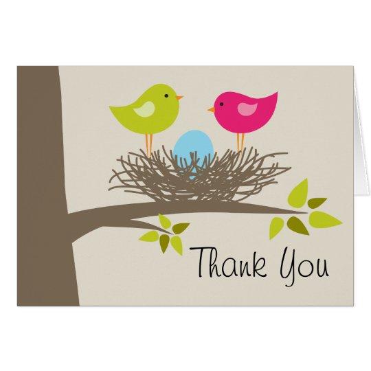 Blue Bird's Nest Thank You Card