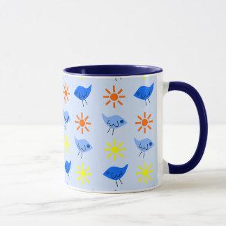 Blue Birds Yellow Stars Pattern Design Mug