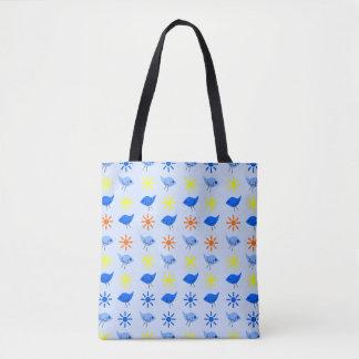 Blue Birds Yellow Stars Pattern Design Tote Bag