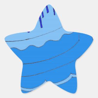Blue Birthday Boy Cake Design Star Sticker