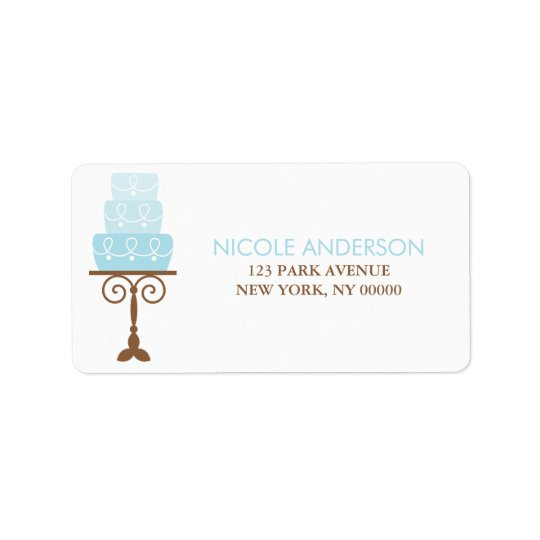 Blue Birthday Cake Address Labels