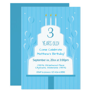 Blue Birthday Cake and Balloons | Invitation