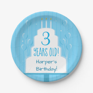 Blue Birthday Cake and Balloons | Paper Plate