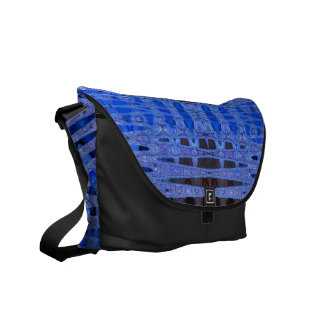 blue black abstract pattern courier bag